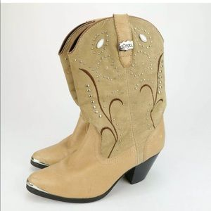 Dingo Western Cowboy Brown Leather Studded Boots